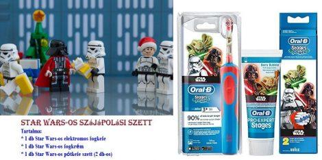 Oral-B STAR WARS gyermek elektromos fogkefe + 2db pótkefével, fogkrémmel + ajándék